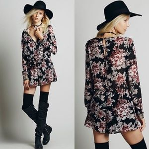 Free People Float Away Button Floral Romper XS